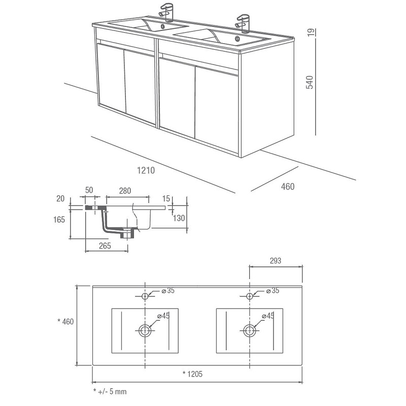 SALGAR Noja skrinka s 2-umývadlom 120 4-dverová matná šedá