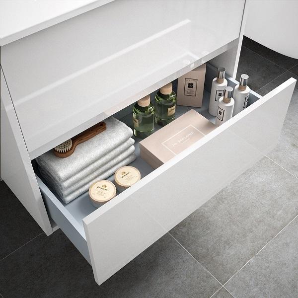 SALGAR Noja skrinka s keramickým umývadlom 700 2-zásuvková lesklá biela 85036