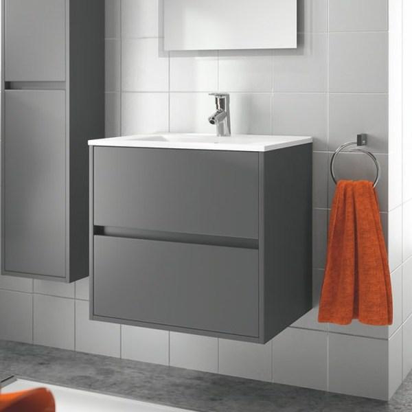 SALGAR Noja skrinka s keramickým umývadlom 700 2-zásuvková šedá matná 85038