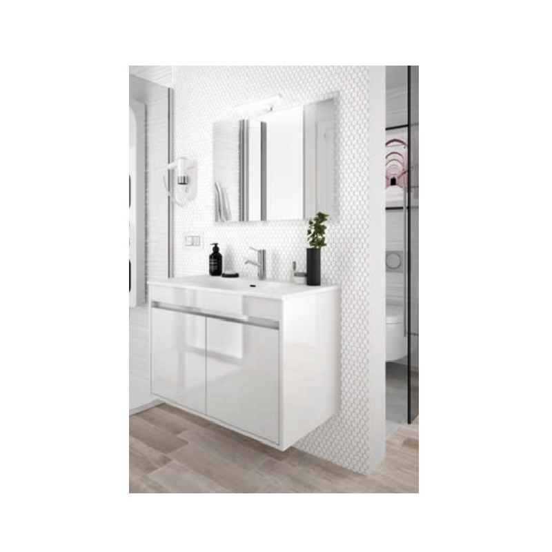 SALGAR Noja skrinka s umývadlom 80 2-dverová lesklá biela