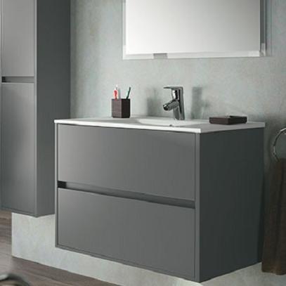 SALGAR Noja umývadlová skrinka 900 2 zásuvková s keramickým umývadlom šedá matná 85075