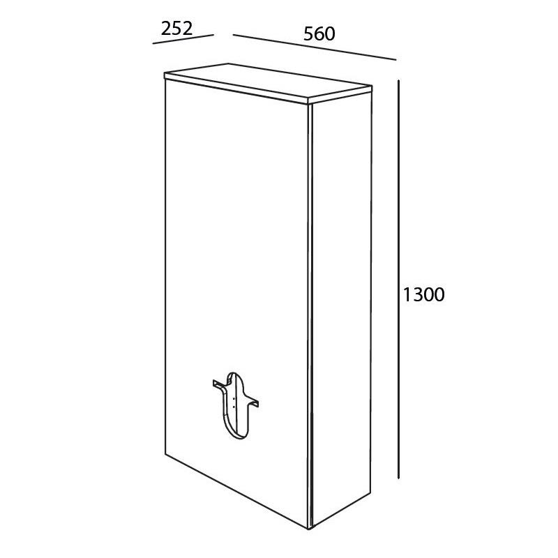 SALGAR skrinka modul za toaletu 56x25x130 matná šedá