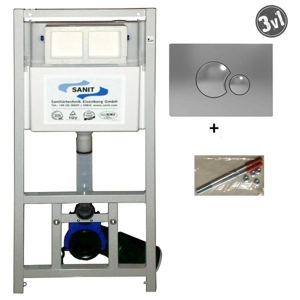 SANIT INEO - set 3v1 duofix WC + kotvenie + tlačítko S706 chróm 90.502.00..S004