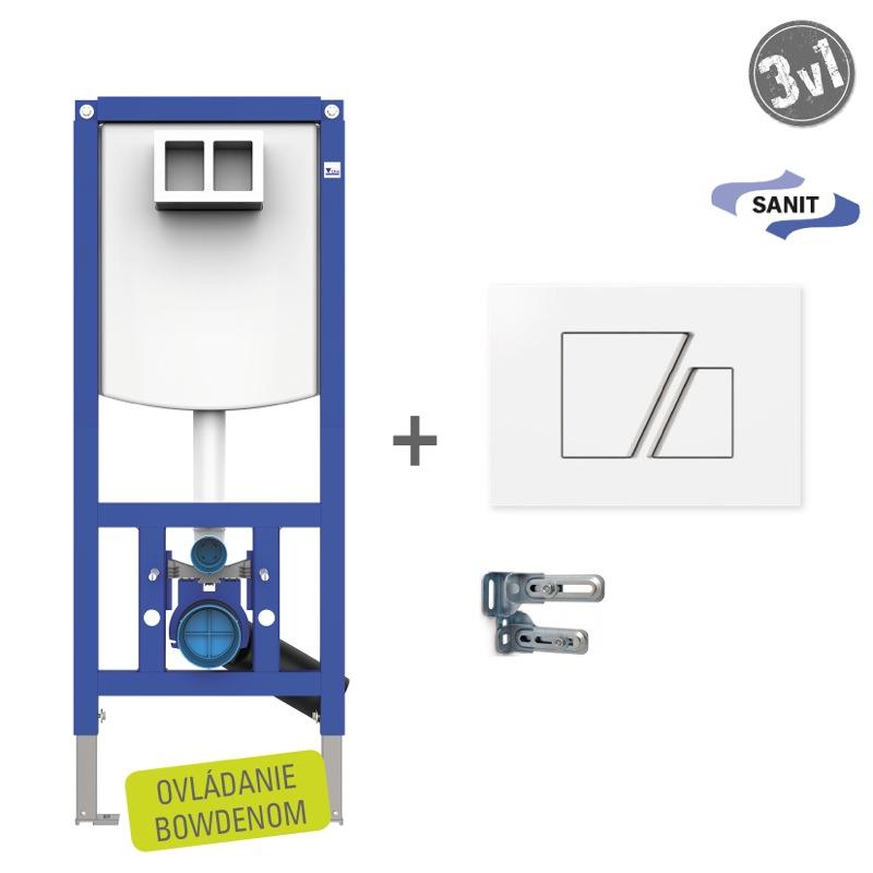 SANIT Ineo SET WC 3v1s bielym tlačítkom S707B- na zadnú stenu