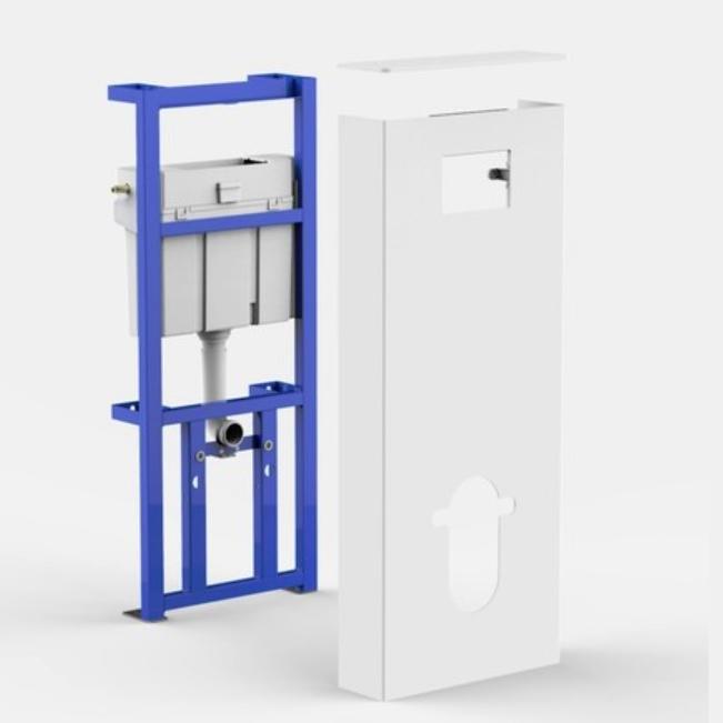 SANIT INEO Solo duofix pre závesné WC na montáž k stene bez nutnosti obstavania, kryt biely Dlibond/sklo, 90730000005