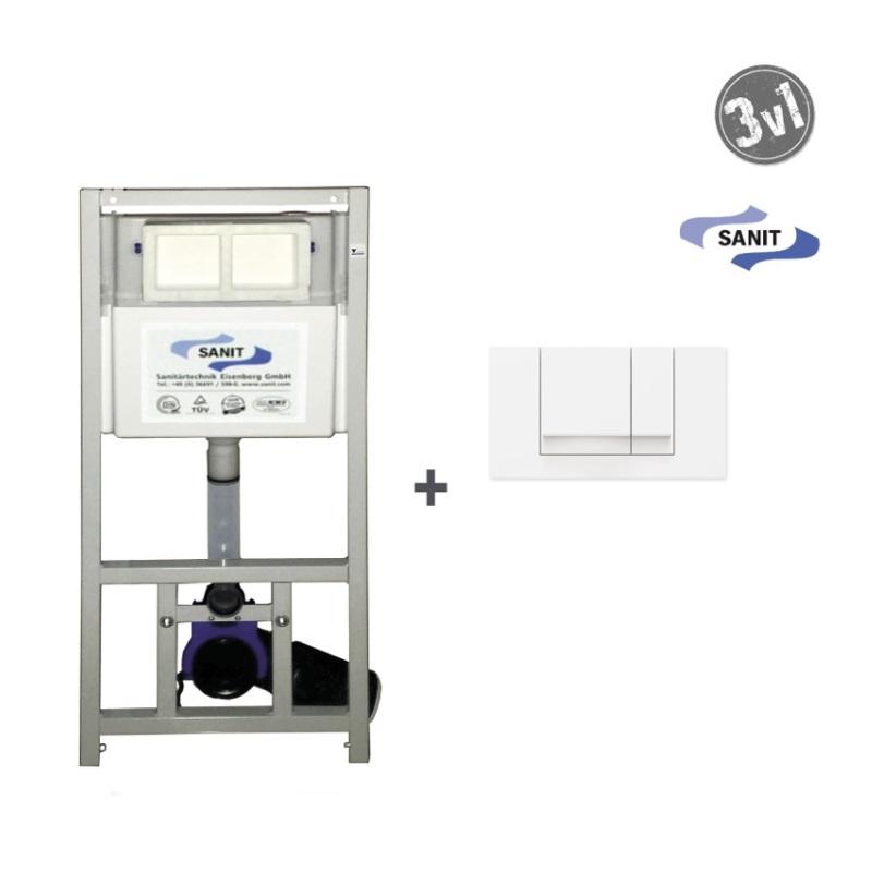 SANIT SET WC 3v1 montážny prvok pre závesné WC + uchytenie + biele 2-činné tlačítko