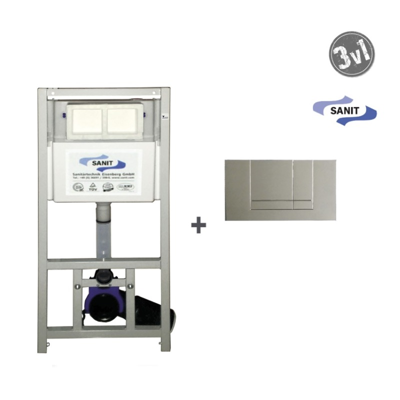SANIT SET WC 3v1 SANIT995 pod sadrokartón s chrómovým tlačítkom