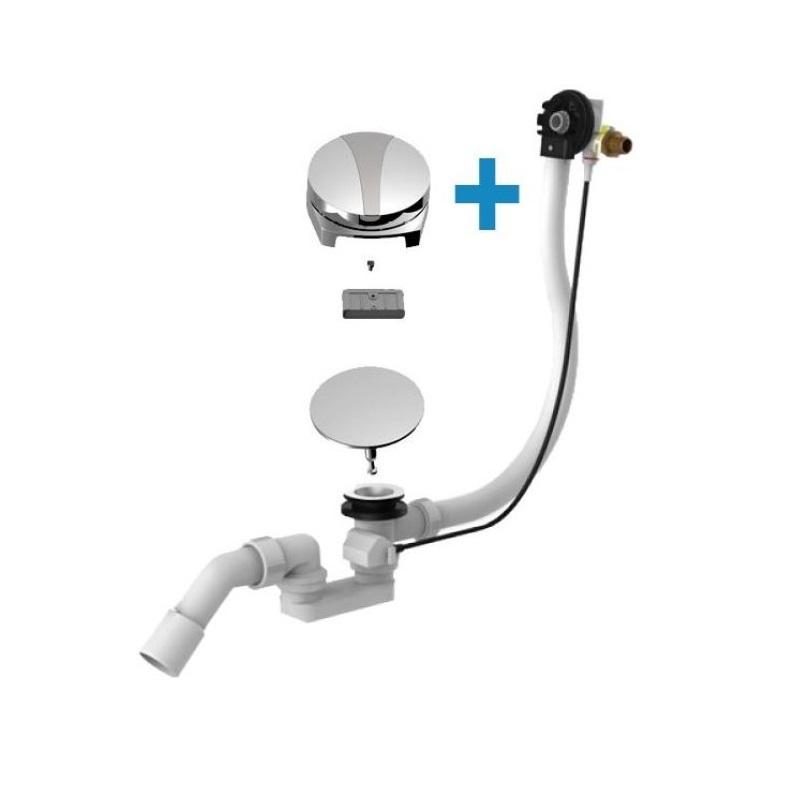SANIT vaňový napúšťací sifón Swing Plus s bowdenom 100cm, vodopád, i pre neštandardné vane chróm