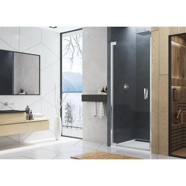 SANSWISS Cadura sprchové dvere 1-krídlové 90cm aluchróm číre sklo s úpravou AquaPerle pánty vľavo CA1CG0905007