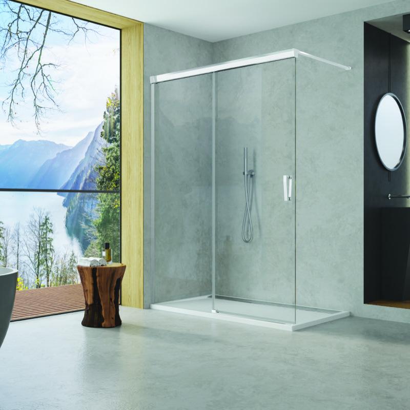 SANSWISS Cadura Walk-In s posuvnými dverami 150 x 200 cm upevnenie vpravo, aluchróm, číre sklo s AquaPerle  CAW2D1505007