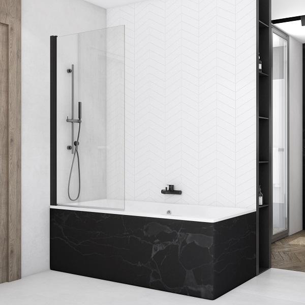 Sanswiss SOLINO Black 85 cm vaňová zástena matná čierna, výška 150 cm, číre sklo s úpravou AquaPerle SOEB108500607