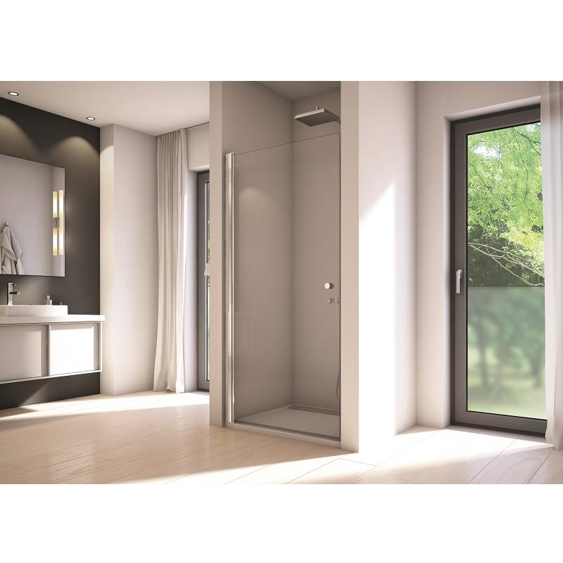 SANSWISS Solino sprchové dvere 1-krídlové 90cm aluchróm číre sklo s AquaPerle SOL109005007
