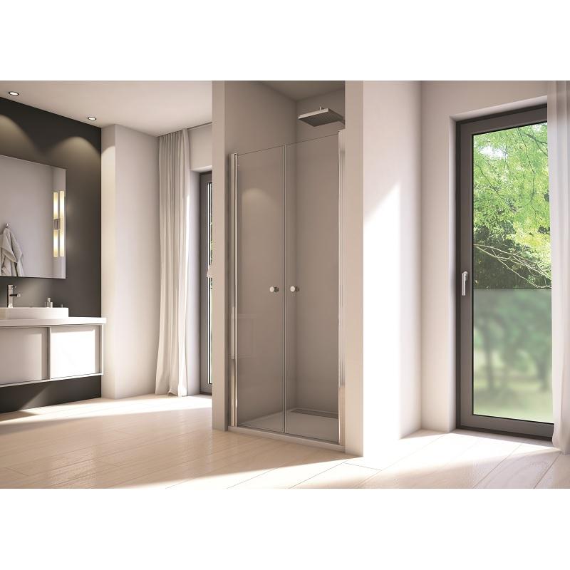 SANSWISS Solino sprchové dvere 90 2-krídlové aluchróm číre sklo s AquaPerle SOL209005007