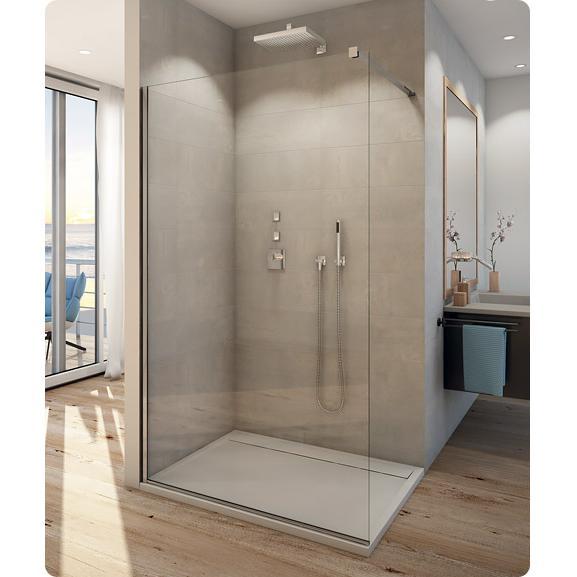 SANSWISS WALK-In Easy samostatná bočná stena 100x200 (Ľ/P) aluchróm číre sklo s Aquaperle