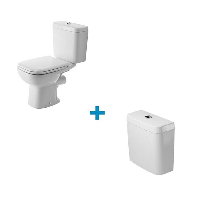 SET 2v1 D-CODE misa WC stojaca vodorovný odpad s nádržkou, biela