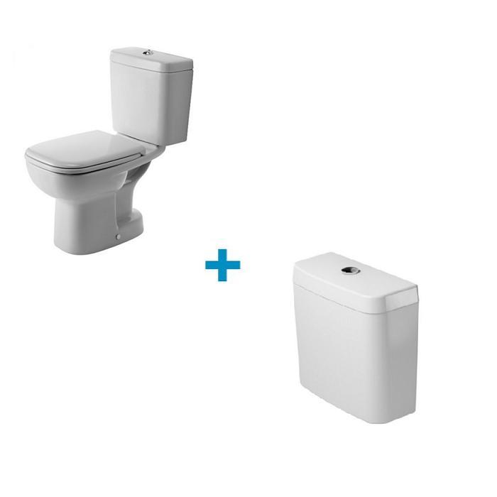 SET 2v1 D-CODE misa WC stojaca zvislý odpad s nádržkou, biela