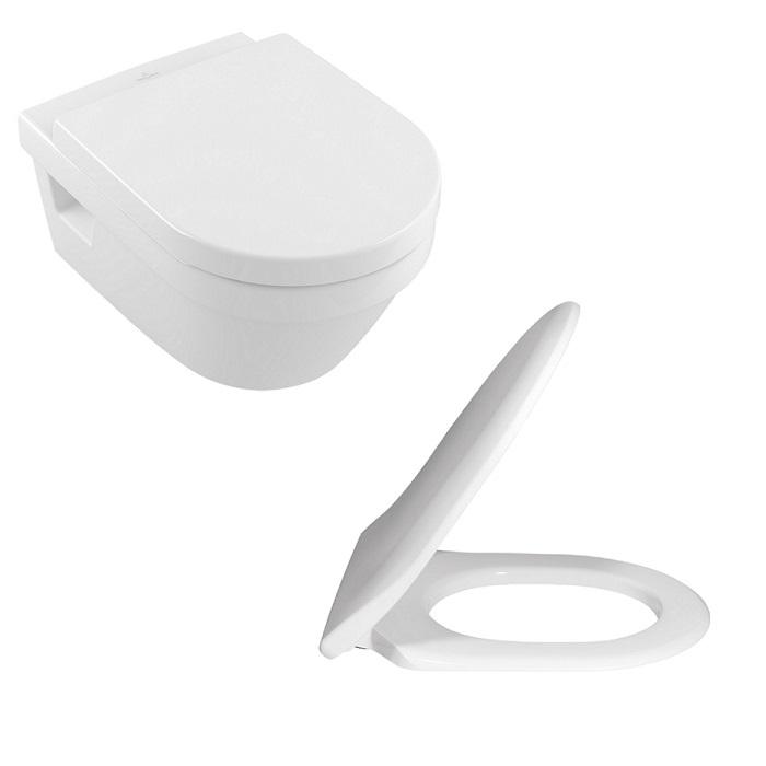SET 2v1 misa WC závesná ARCHITECTURA O 37 x 53 DirectFlush + Slim sedátko SoftClosing s AquaReduct biela C+ Combi-Pack