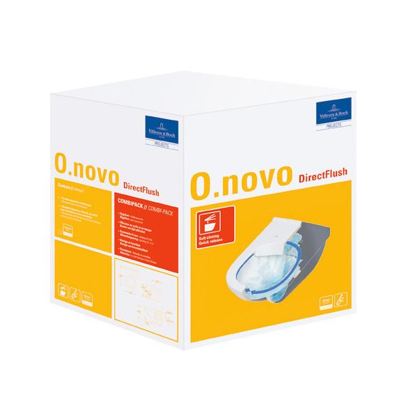 set 2v1 misa WC závesná O.NOVO 36 x 56 DirectFlush + sedátko so Softclosing a Quck-Release biele C+ Combi-Pack