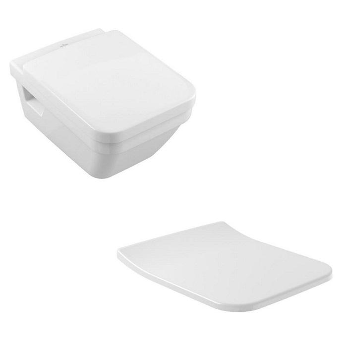 SET WC 2v1 misa WC závesná ARCHITECTURA H 37 x 53 DirectFlush biela + Slim sedátko SoftClose biela C+