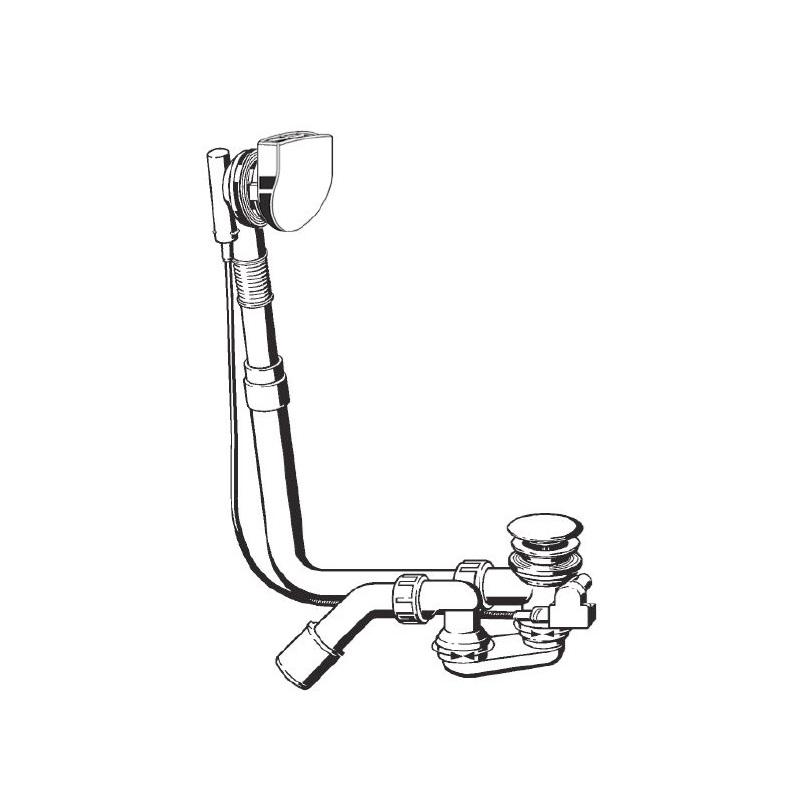 sifón vaňový Multiplex Plus 5, predĺžený 106 cm, chróm (voda +5 cm)