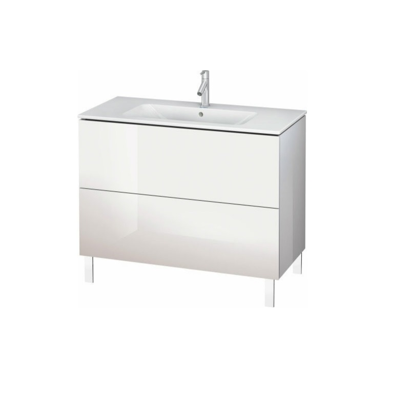 skrinka pod umývadlo stojaca L-CUBE 1020 x 481 x 704 2 zásuv. Push Open biela lesklá