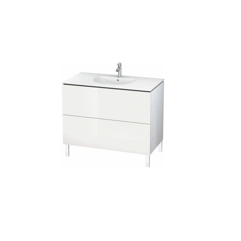 skrinka pod umývadlo stojaca L-CUBE 1020 x 534 x 550 2 zásuv. Push Open biela lesklá