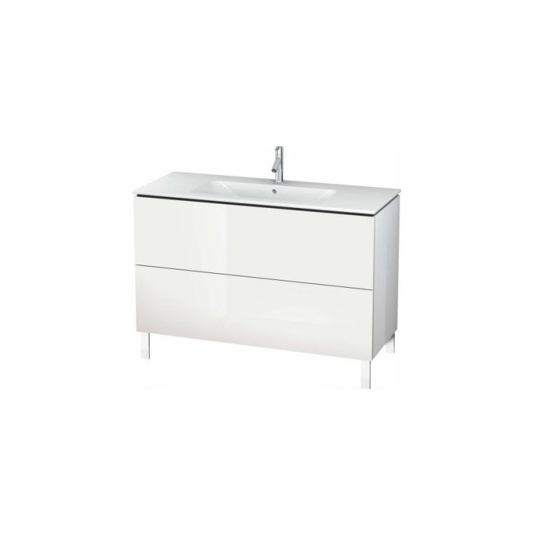 skrinka pod umývadlo stojaca L-CUBE 1220 x 481 x 704 2 zásuv. Push Open biela lesklá
