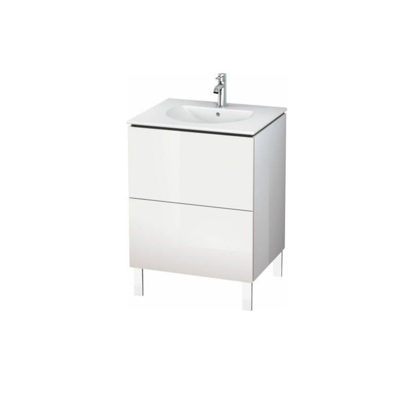 skrinka pod umývadlo stojaca L-CUBE 620 x 514 x 550 2 zásuv. Push Open biela lesklá