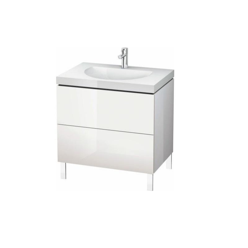 skrinka pod umývadlo stojaca L-CUBE 800 x 540 x 698 2 zásuv. Push Open biela lesklá