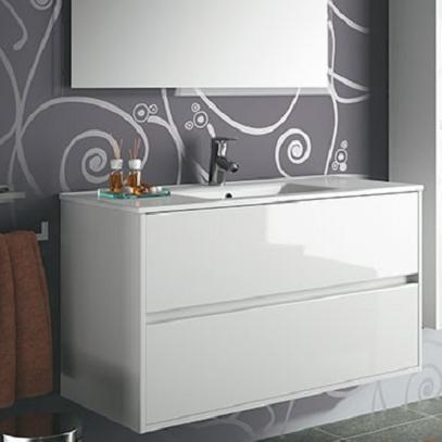 skrinka s umývadlom NOJA 100 2-zásuv. lesklá biela