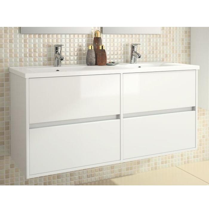 skrinka s umývadlom NOJA 120 závesná 4-zásuv. 2-umýv. 1205x839 biela
