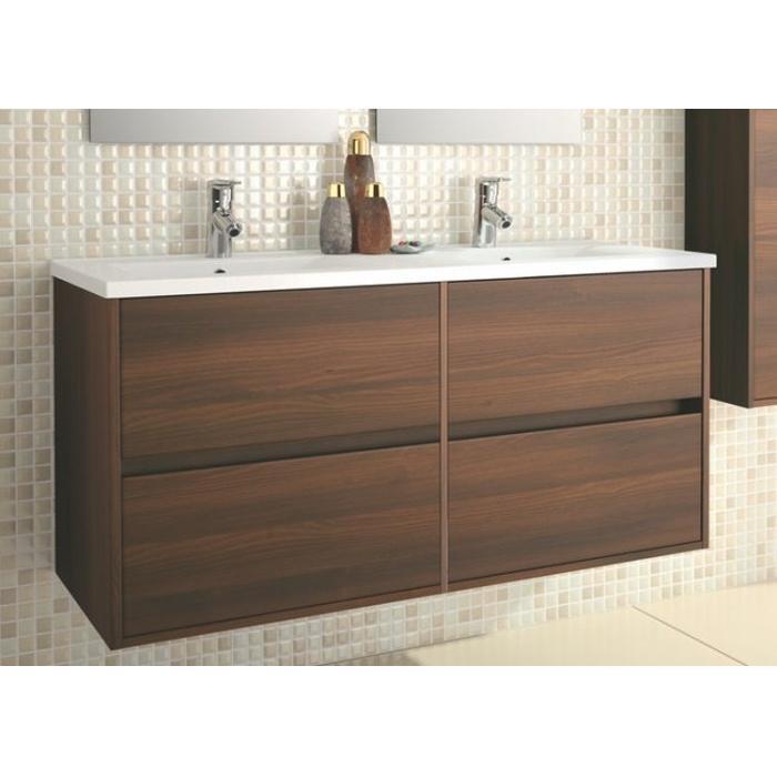 skrinka s umývadlom NOJA 120 závesná 4-zásuv. 2-umýv. 1205x839 hnedá acacia