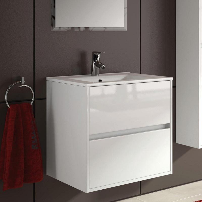 skrinka s umývadlom NOJA 70 2-zásuv. závesná biela lesk s keramick.umývadlom 71x56