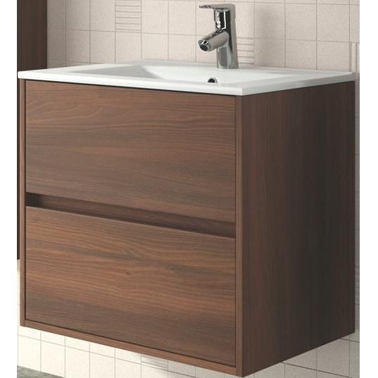 skrinka s umývadlom NOJA 70 2-zásuv. závesná brown acacia s keramick.umývadlom 71x56