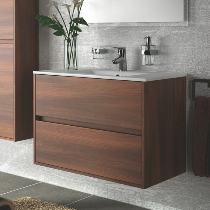 skrinka s umývadlom NOJA 90 2-zásuv. závesná hnedá acacia s keramic.umývadlom 91x56