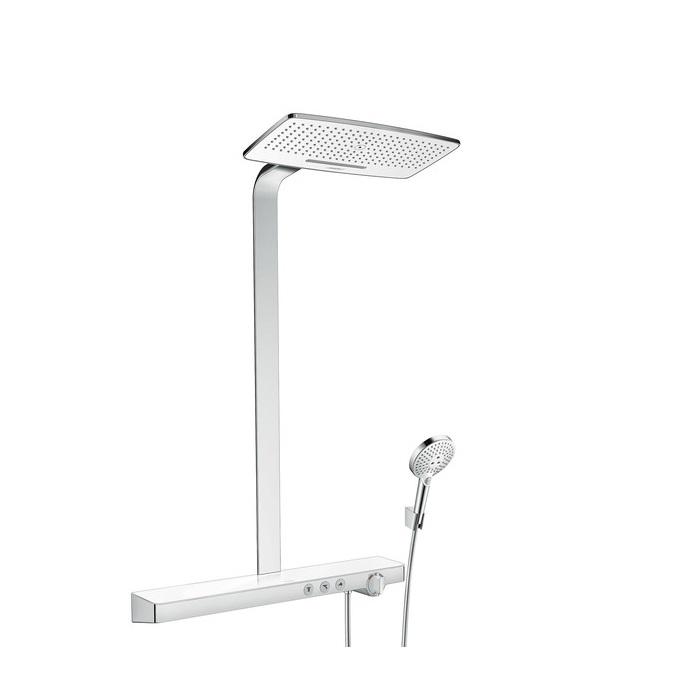 systém sprchový  RAINMAKER Select 420 2jet Showerpipe termostat s poličkou 70 cm biela/chróm