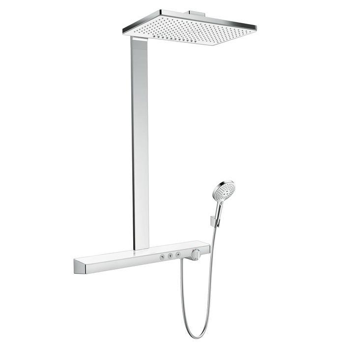 systém sprchový RAINMAKER Select 460 2jet Showerpipe EcoSmart s termostatom biela/chróm s poličkou 70cm