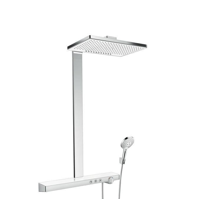 systém sprchový RAINMAKER Select 460 2jet Showerpipe termostat biela/chróm s poličkou 70cm