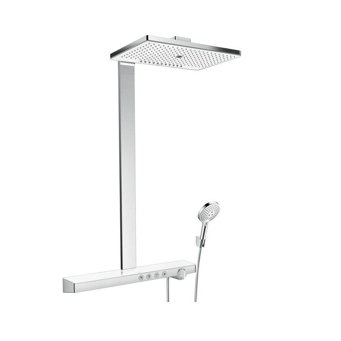 systém sprchový RAINMAKER Select 460 3jet Showerpipe EcoSmart termostat s poličkou 70 cm biela/chróm
