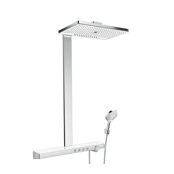 systém sprchový RAINMAKER Select 460 3jet Showerpipe termostat biela/chróm spoličkou 70cm