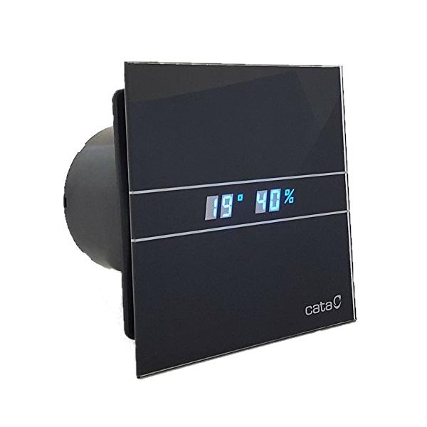 ventilátor kúpeľňový CATA E-100 GT BK Timer Black sklenený čelný kryt