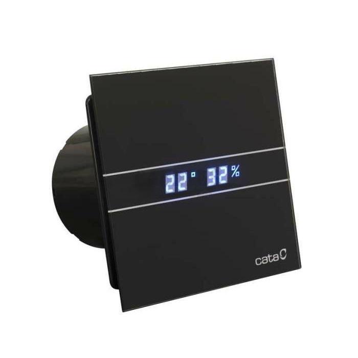 ventilátor kúpeľňový CATA E-100 GTH BK Hygro + Timer Black, 2 rýchl., LED teplomer + vlhkomer, sklenený čelný kryt