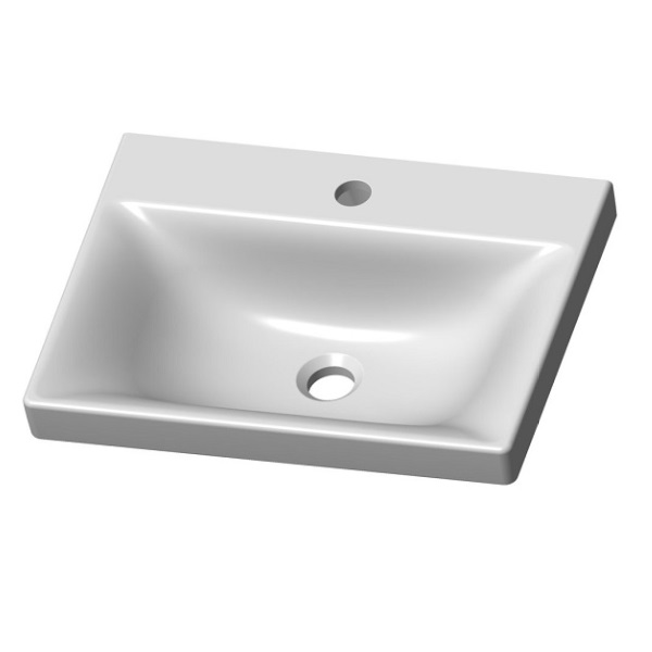 VILAN VEA 49 keramické umývadlo na skrinku/ dosku 49 x 37 cm biela