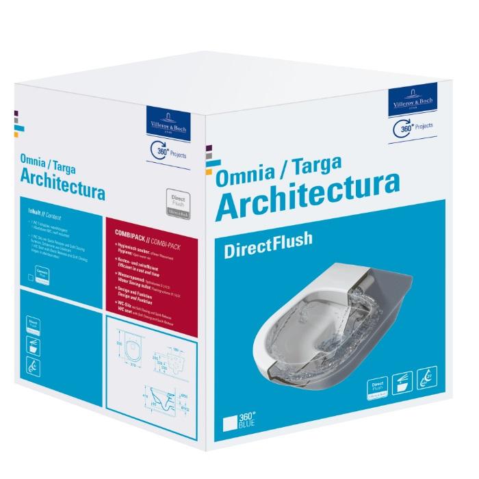 VILLEROY & BOCH Architectura závesná WC misa s DirectFlush + sedátko so SoftClose, biela s C+, 5684HRR1