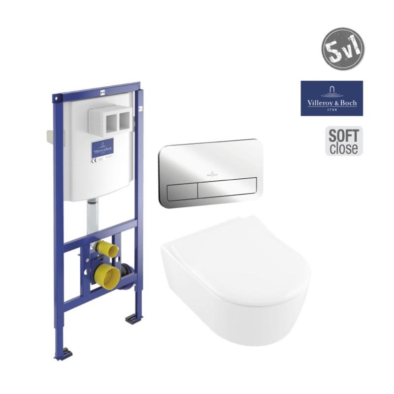 VILLEROY & BOCH Avento SET WC 5v1 misa WC závesná 37 x 56 s DirectFlush +sedátko SLIM SoftClosing + duofix Viconect+ tlačítko Viconect chróm