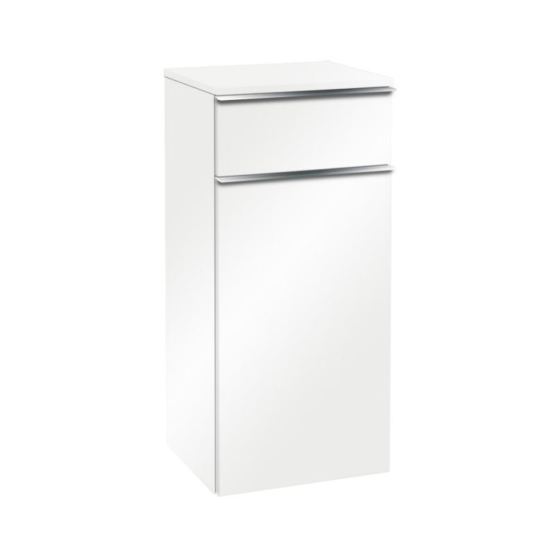 VILLEROY & BOCH VENTICELLO bočná skrinka 404 x 866 x 372 mm Glossy White, úchytka chróm A95001DH