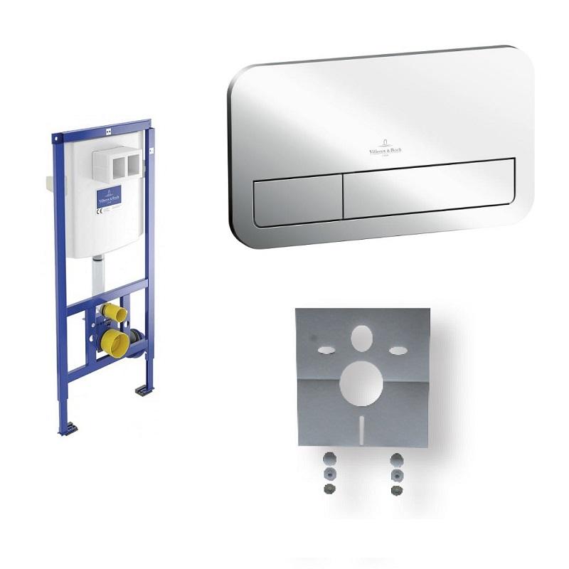 VILLEROY & BOCH VICONNECT set 3v1 nadrž splachovacia duofix + tlačítko E 200 chróm + izolácia protihluková pre závesné WC