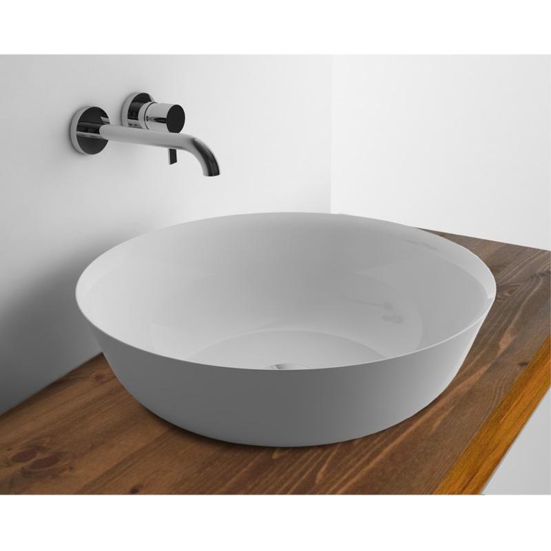 WhiteStone 410 Slim umývadlo na dosku bez prepadu biela lesklá M4841001
