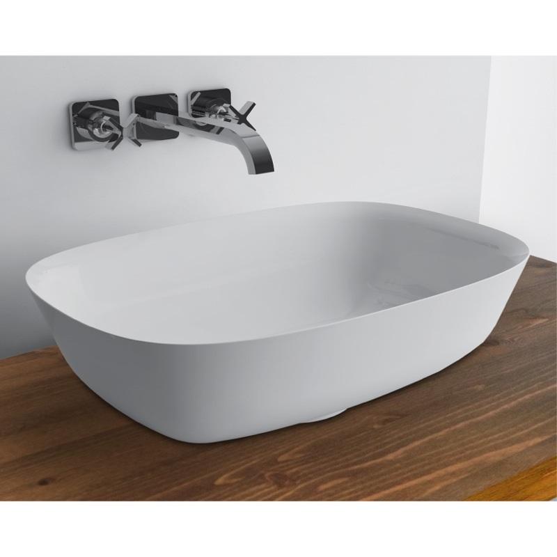 WhiteStone 460 Slim umývadlo na dosku bez prepadu biela lesklá M4846001