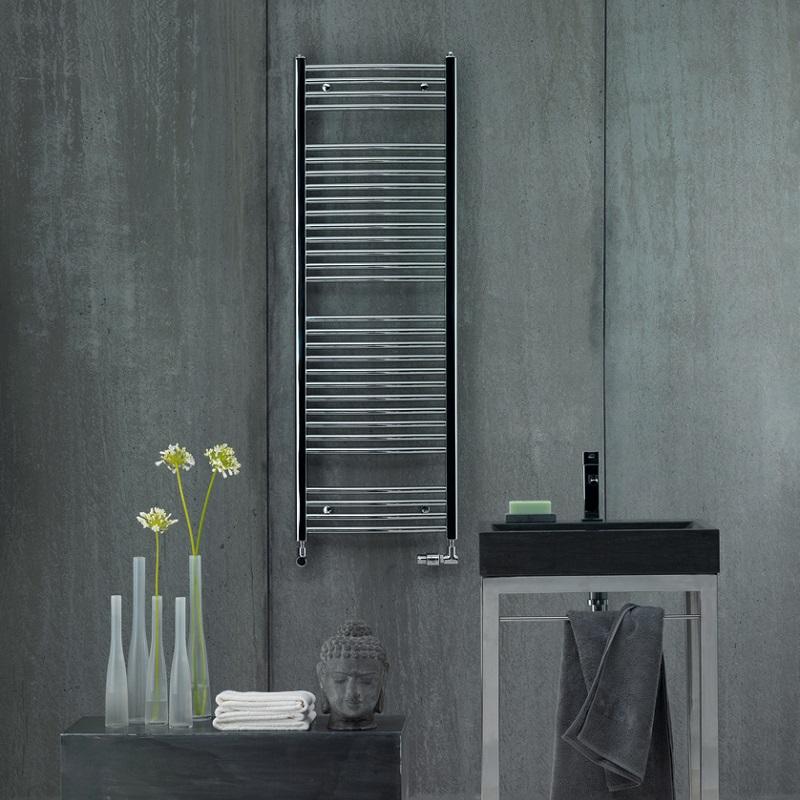 ZEHNDER Aura elektrický radiátor 90,6 x 50 cm s elektrickou vykurovacou tyčou 200W chróm PBECZ09050MQ